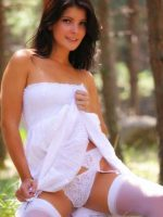 Violet Sitting in Forest Pulling Up White Dress Showing White Panties.